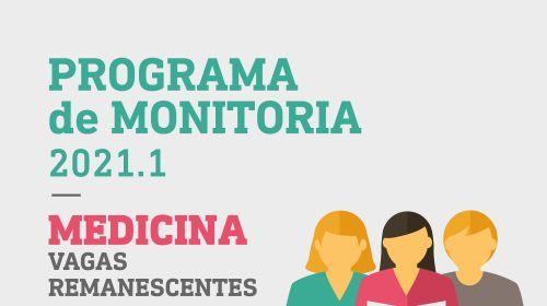 Programa de Monitoria 2021.2 - vagas remanescentes Medicina