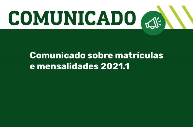 ERRATA - Comunicado sobre matrículas e mensalidades 2021.1